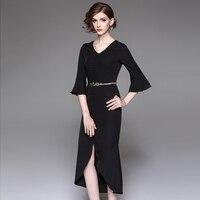 Damska Sukienka Solid color V kołnierz kobiet liści Lotosu rękaw fishtail sexy Czarny pomarańczowy koronki sukienka tunika SZWL1714104