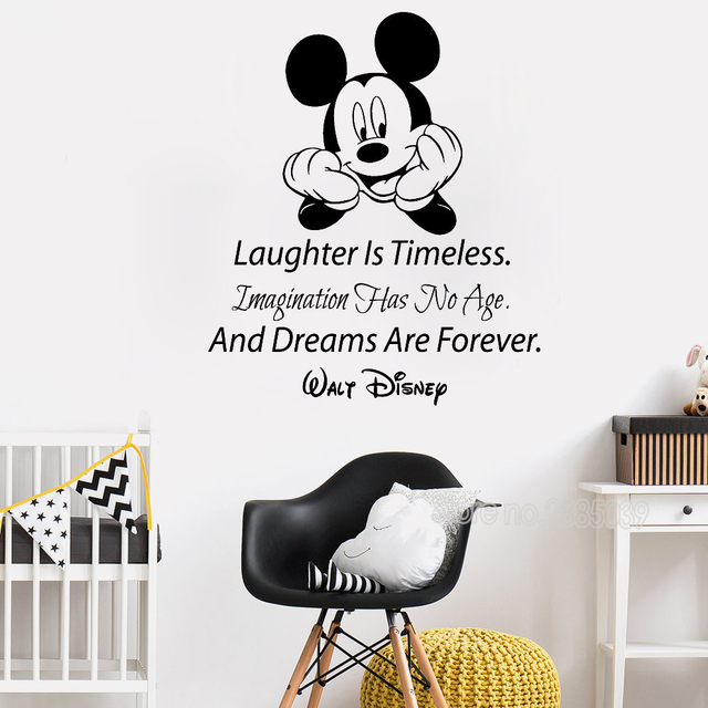 Mickey Mouse Quote Wall Decals Laughter Is Timeless Words Nursery Decor Vinyl Art Text Stickers