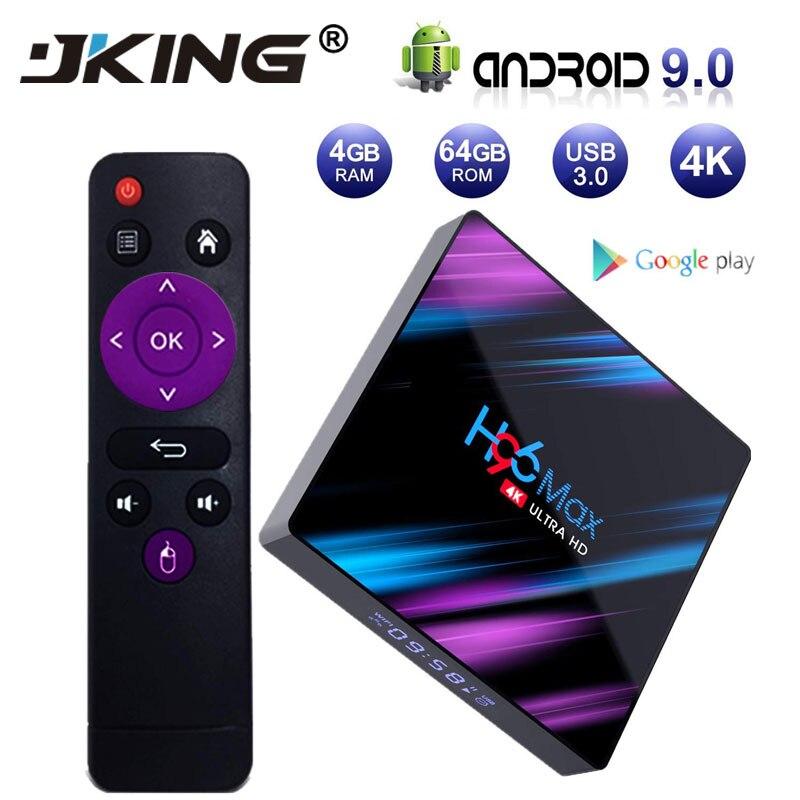H96 MAX 9.0 Android TV Box Rockchip RK3318 4 GB RAM 64 GB H.265 4 K Google Assistant vocal Netflix Youtube 2G 16G lecteur multimédia