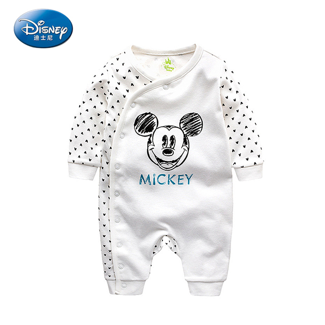 b338ada495c38 Disney Baby Cartoon Cotton Out Service Rompers Spring And Autumn Newborn  Suitcase Full Moon Long Sleeves Rompers