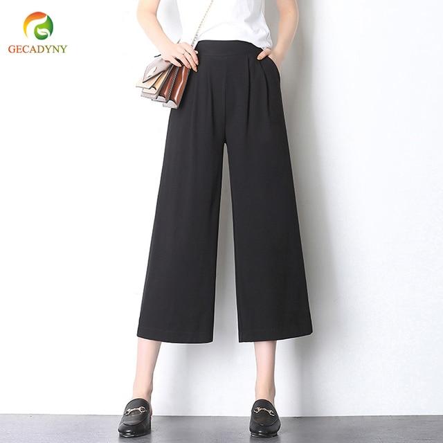 4732c9351cb7 2018 Women's Fashion Solid Color Black Loose Capris Pants OL Cropped  Trousers Retro High Waist Wide Leg Pants Plus Size S-3XL