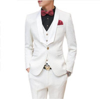Loldeal 2018 Fashion Custom Men Suit Slim Fit Mens White Suits For Weddings Dress Party Clothing Mens Tuxedo suits with pants