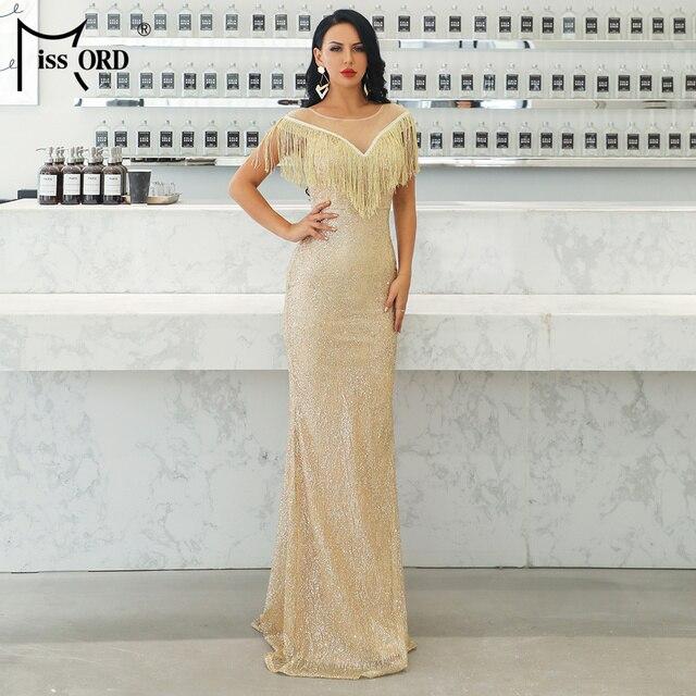 Missord 2019 Women Sexy O Neck Mesh Tassel Dresses Female Glitter Dress Elegant Maxi Bodycon Party Dress FT19008 2