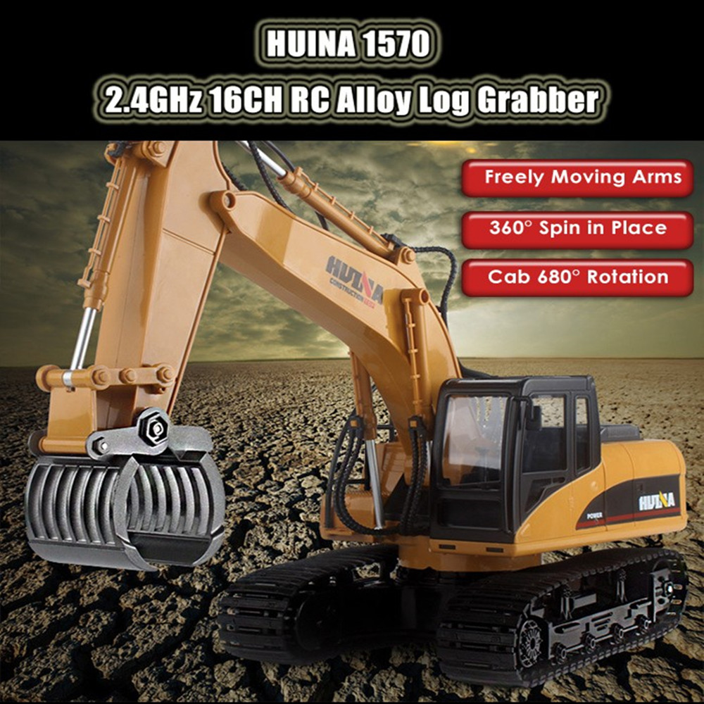 New 1570 RC Car 2.4G 1:14 RC Excavator 16 Channels Metal Charging RC Car Model Toys Grabbing Machine Auto Demonstration Cars