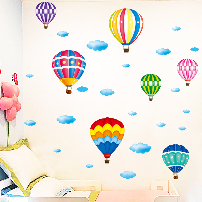 [shijuekongjian] Hot Air Balloon Wall Stickers DIY Cartoon Wall Decals for Kids Rooms Baby Bedroom Shop Glass Decoration