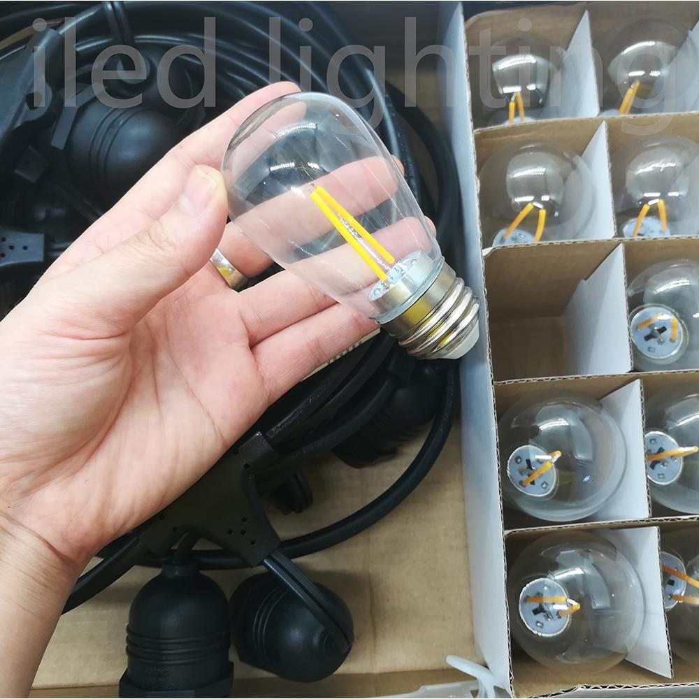 48 pieds 14.4 M extérieur résistant aux intempéries festoon party E27 string light avec 15 prises suspendues S14 2W ampoule LED inclus - 4
