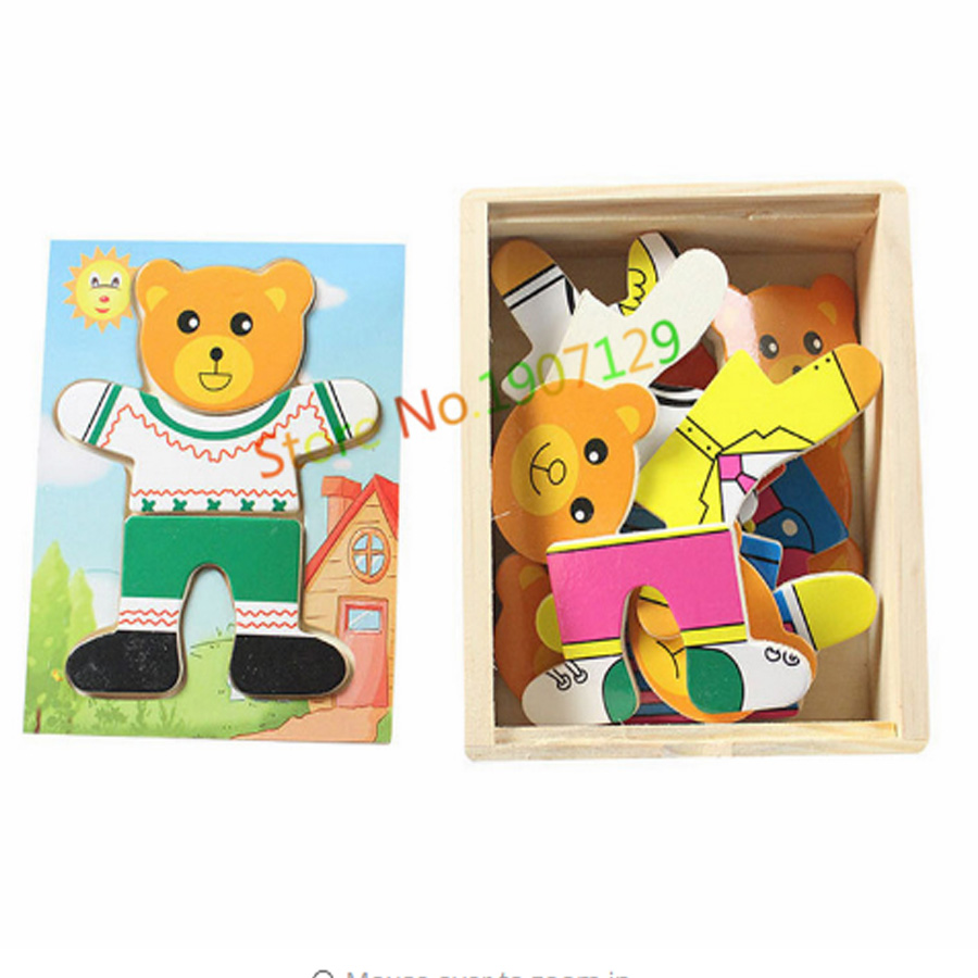 Fuuny Wooden Puzzle Set Baby Educational Toys One Little Bear Changing Clothes Puzzles Kids Children's Toy Gifts Free Shipping
