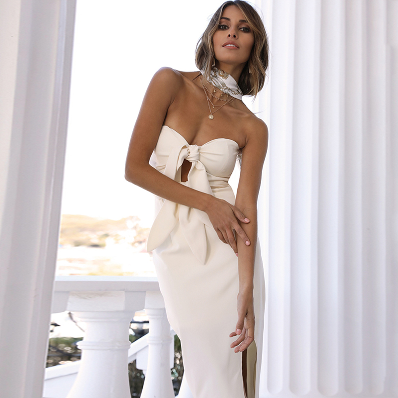 INDRESSME Sexy Strapless With Bow Cut Out Bandage Dress Fashion Solid Sleeveless Women Backless 2019 Summer New Women Club Dress in Dresses from Women 39 s Clothing