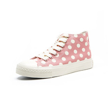 Polka Dot High Top Shoes Lace Up Sneakers PU27