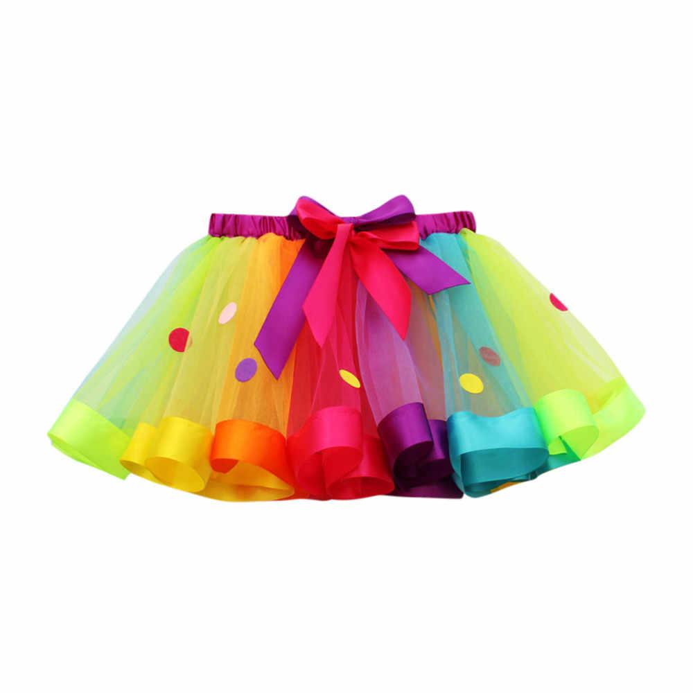 CHAMSGEND caliente niños Tutu tul fiesta de baile de Ballet de bebé Arco Iris traje de bebé lindo diseño JAN23