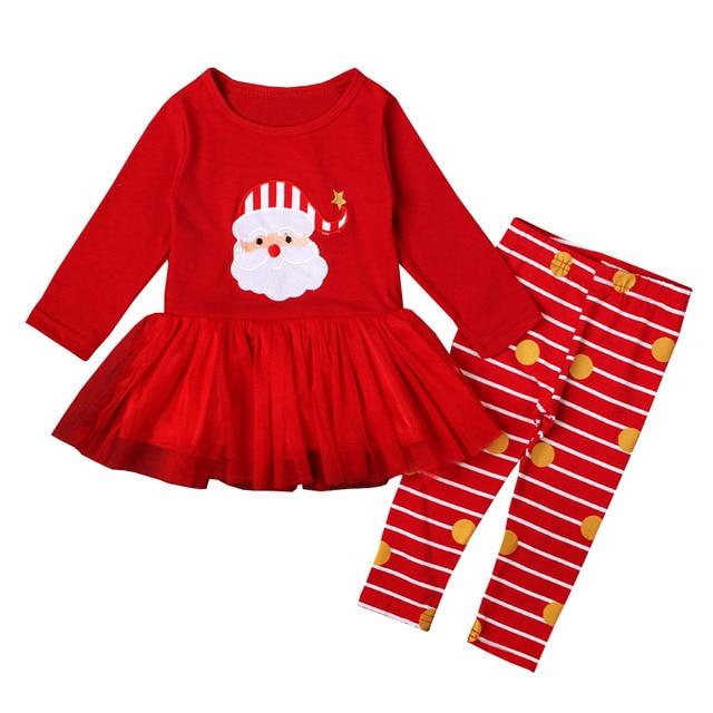 Toddler Girls Christmas Outfits Red Tutu Shirt+Stripe Dot Pants Leggings  2pcs Kids Suits Pajama - Toddler Girls Christmas Outfits Red Tutu Shirt+Stripe Dot Pants