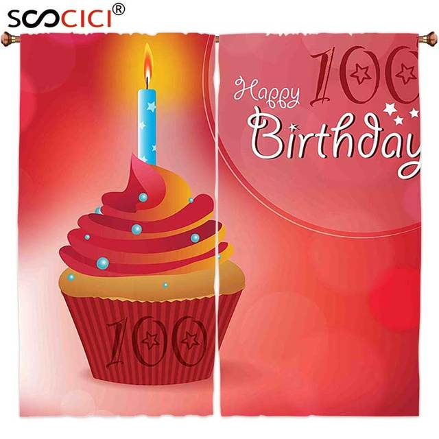 Gordijnen Behandelingen 2 Panelen 100ste Verjaardag Decoraties 100