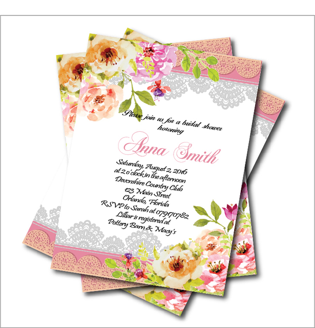 20pcslot vintage lace bridal shower wedding invitation watercolor flower invite rustic summer wedding party