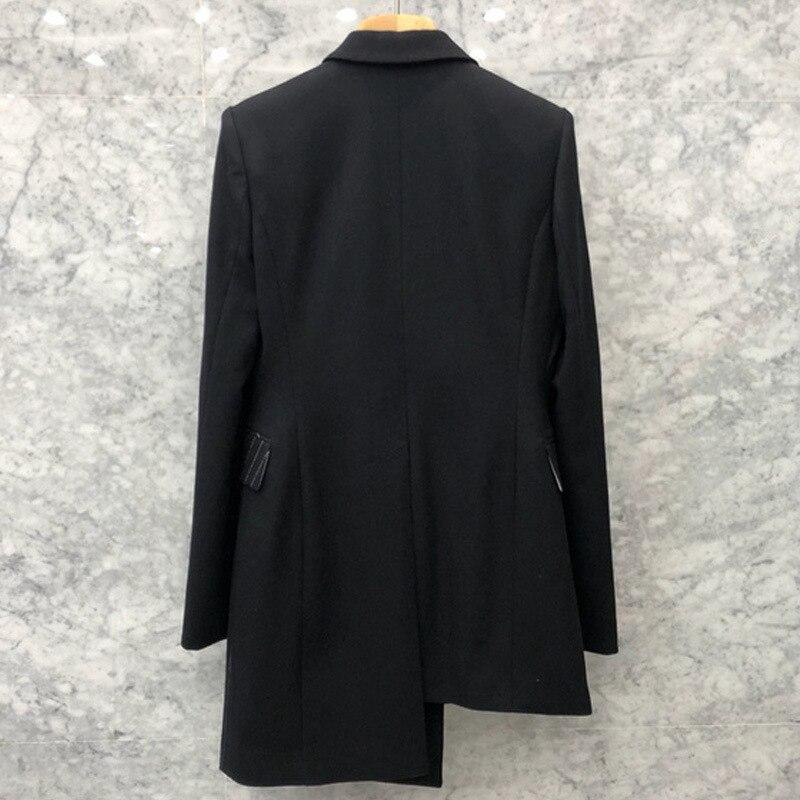Revers Longues Casual Femmes Costumes Automne Bandage Blazer Mode Noir Tailles À Manteau Grandes De Femelle Manches E1p1Cgqa