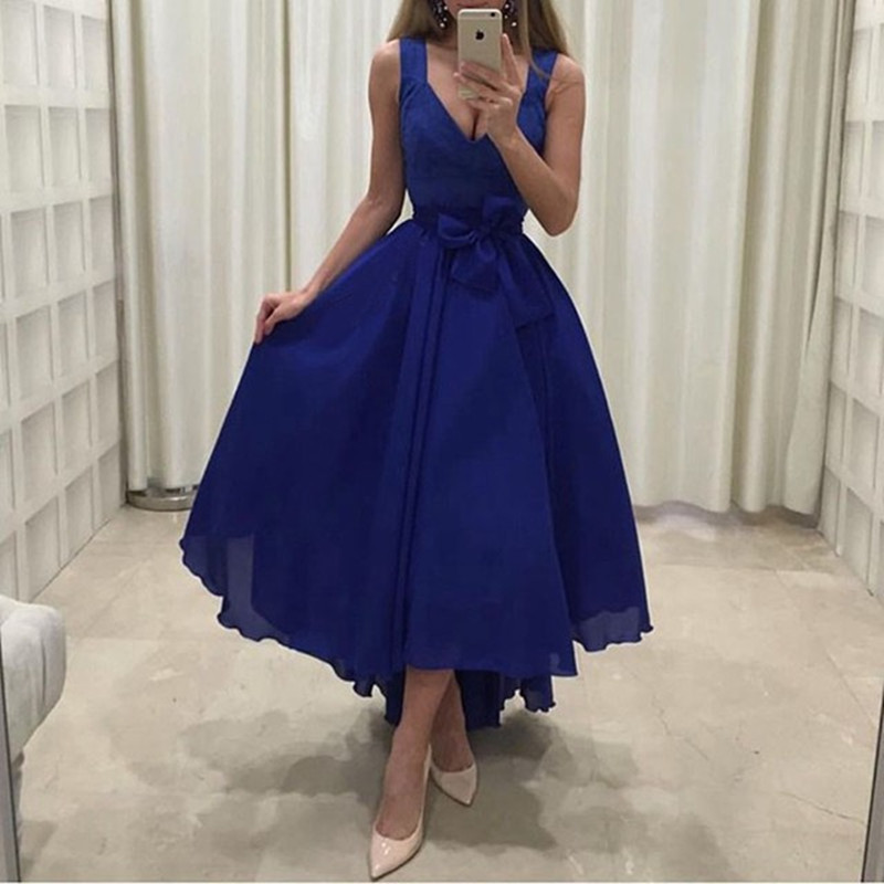 Royal Blue Evening Gown Short Front Long Back V-neck Wide Straps Chiffon High-Low Long Arabic Wedding Party Dress