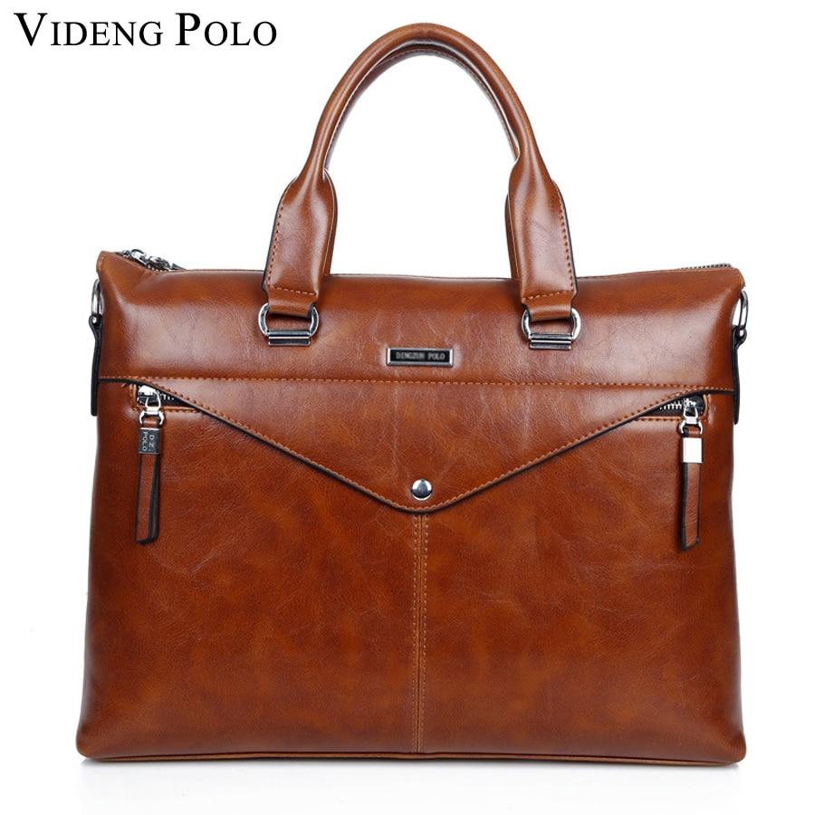 VIDENG POLO 2017 New Fashion pu Leather Bags for Men famous brand Men's Shoulder Bag Leather Messenger Bag briefcase business