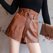 2017 Autumn Winter Women Fashion High Waist Pockets PU Shorts Girls Faux Leather Shorts With Slashes Bottoms GD9258