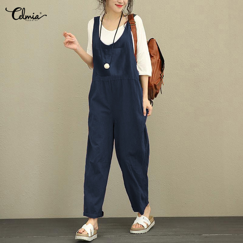 Celmia Linen Romper Women Jumpsuit Summer Sleeveless Backless Solid Pockets Casual Loose Trousers Playsuits Plus Size Overalls