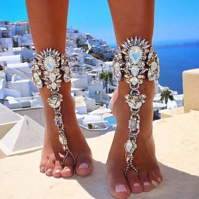 Fashion 2016 Luxury Ankle Bracelet Beach Vacation Sandals Sexy Pie Leg Chain Female Boho Crystal Anklet Statement Foot Jewelry