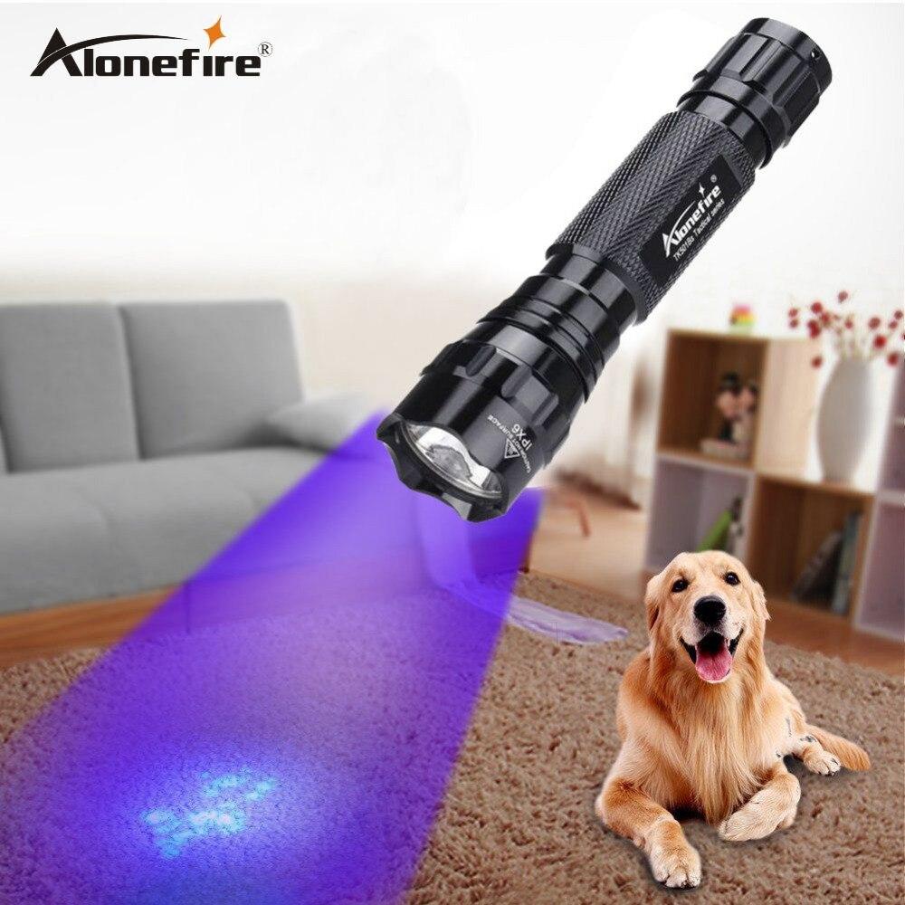 AloneFire 501B Led UV Flashlight Torch Light Ultra Violet Light Blacklight UV Lamp AA Battery For Marker Checker Detection 18650