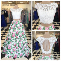 CRYSTAL JIANG Hot Sale White Lace applique Cap Sleeves Beaded Two Pieces Custom made floral printed Ball Gown Evening Dresses