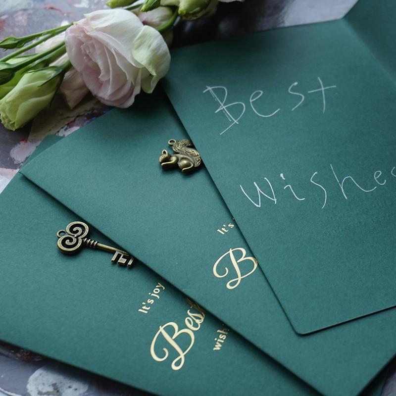 105mm*172mm Letter Set Paper Envelope Vintage Metal Decoration Greeting Card Envelopes For Invitations  Card Wedding Envelope