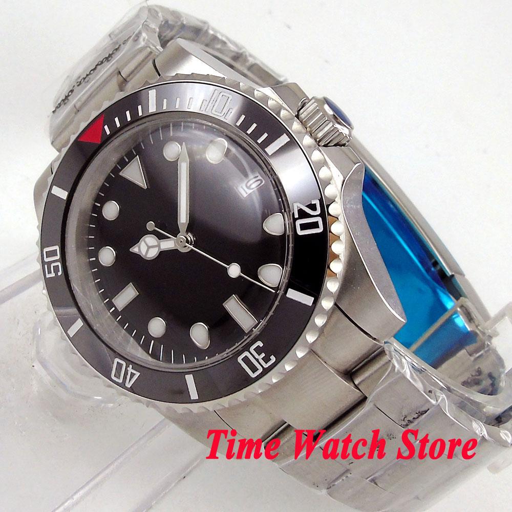 Bliger 40mm men's watch black dial super luminous saphire glass Ceramic Bezel Automatic movement wrist watch men 105