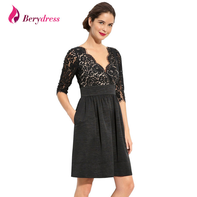 56aa4b614de Berydress Vintage Style 3/4 Sleeve V-neck Pockets Knee-length Lace Wedding