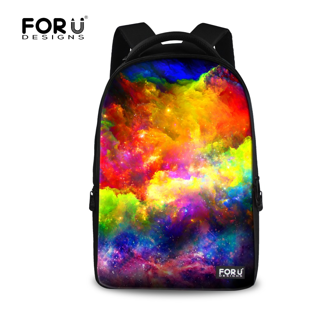 ФОТО FORUDESIGNS Casual Large Capacity Women Backpack Multi-color Galaxy Star Canvas Printing Backpacks For Teenagers Girls Rucksack