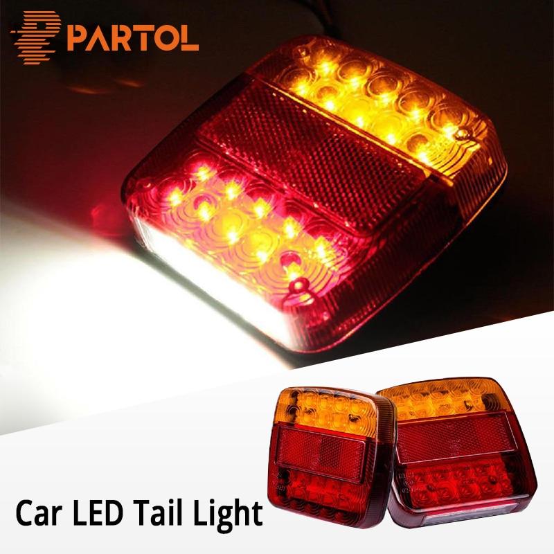 Partol Car LED Tail Lights Auto LED Running Turn Signal Warning Rear Brake Lamp Waterproof Tailight Parts For Trailer Trucks 12V