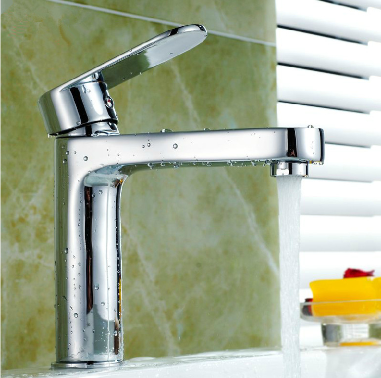 Free Shipping Modern Bathroom Taps Brass Chrome Single Hole Bathroom