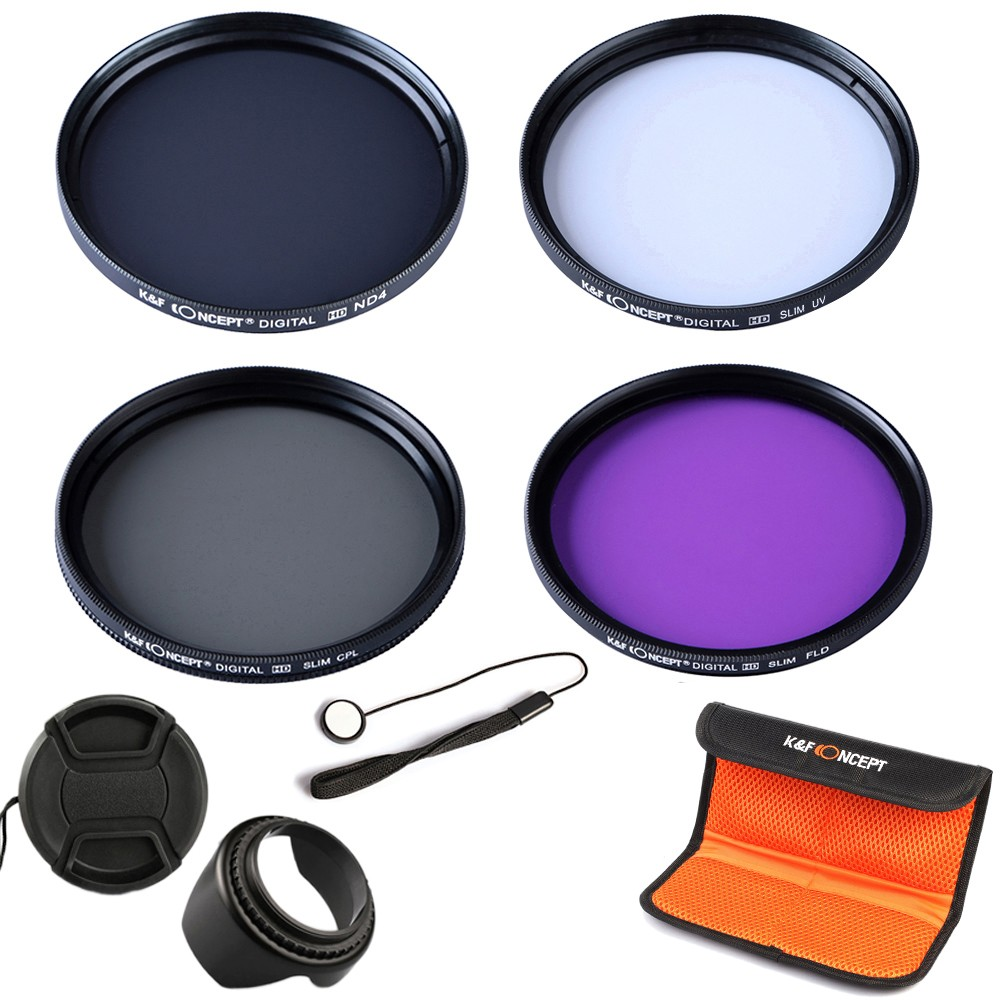 K&F CONCEPT UV+CPL+FLD+ND4 Neutral Density Camera Lens Filter Kit+Bag+Lens Hood Cap+Cleaning Cloth For Canon/Nikon/Sony DSLR 3