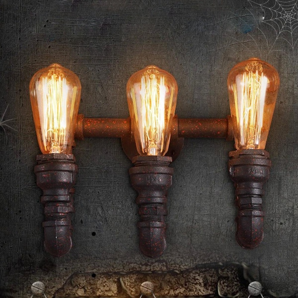 retro iron water pipe industrial industrial wall sconce 3 heads edison e27 e27 bulbs. Black Bedroom Furniture Sets. Home Design Ideas