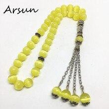 33 perlen 8mm Natürliche Gelbe Opal Stein Muslimischen Gebetskette Islamischen Tasbih Allah Gebet Rosenkranz Tesbih Islam Misbaha Freies verschiffen