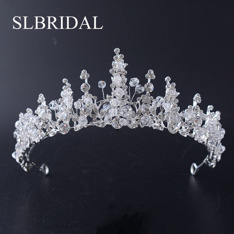 Gorgeous Handmade Wired Rhinestones Crystals Bridal Wedding Tiara Headband Palace Royal Queen Princess Crown Hair Accessories