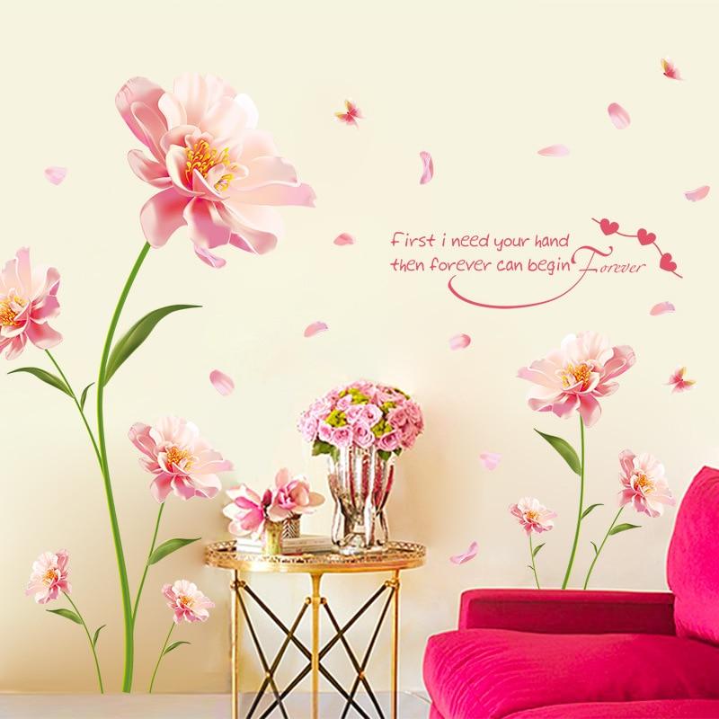 Entfernt Wandaufkleber Romantische Blumen Zwischen Die Warme Schlafzimmer  Hintergrund Dekorative Aufkleber Möbel Wandaufkleber