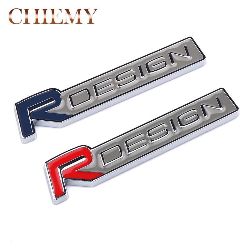 3D Metal R DESIGN RDESIGN Letter Emblem Badge Car Sticker Car Styling Decal For Volvo XC60 XC90 S60 S80 S40 V40 V60 V70 V50 XC70