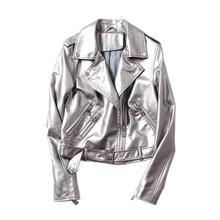 2019 Europa nueva chaqueta de cuero de las mujeres de plata de moda de la PU  de la motocicleta abrigo corto de cuero chaqueta ch. 522f3f3af298