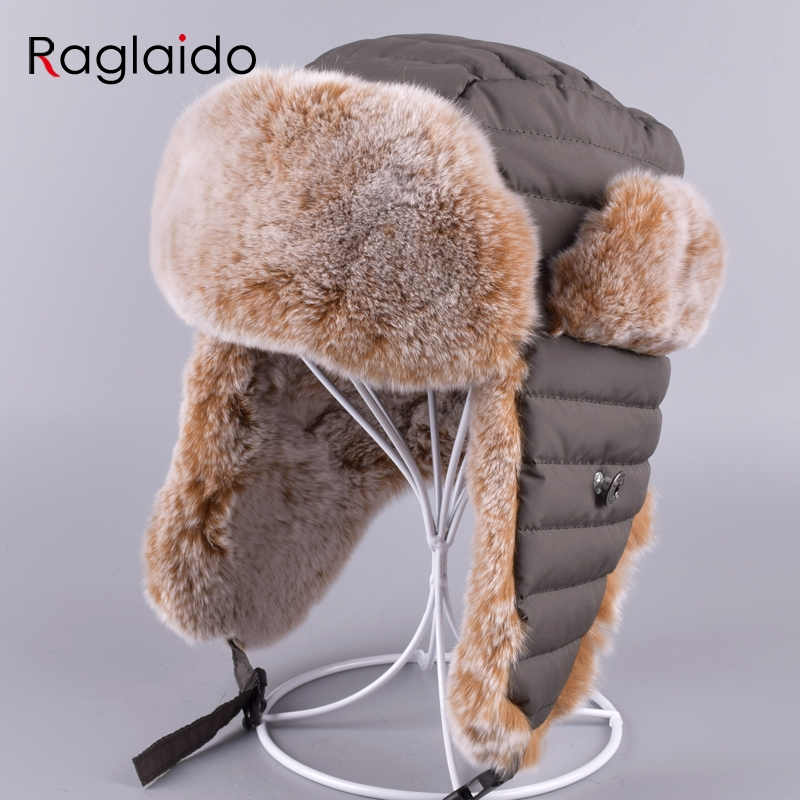 Raglaido Children Hat with Ear flaps Ushanka Bomber Hats Winter a cap Snow Russian made of fur Thick Warm Adjustable LQ11198