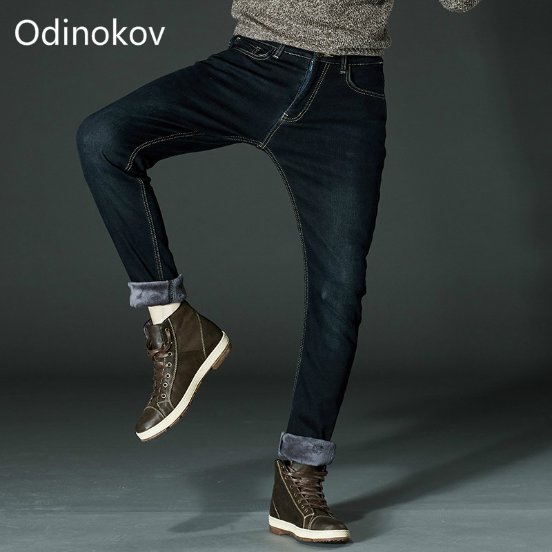 Odinokov Brand  Mens Winter Fleece Jeans Flannel Lined Stretch Denim Jeans Slim Fit Trousers Pants Plus size 40 42 Men's Jeans sulee brand autumn winter mens heavyweight stretch denim jeans casual fit loose relax trousers pants plus size 42 44