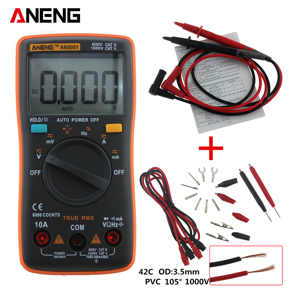 ANENG AN8001 orange Digital Multimeter 6000 Counts Backlight AC/DC Ammeter Voltmeter Ohm Portable Meter все цены
