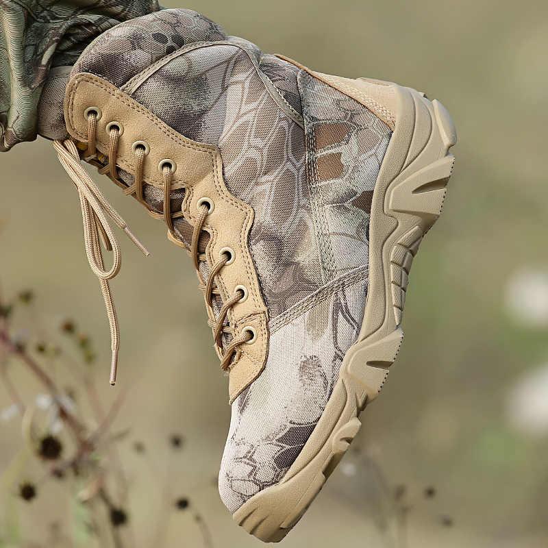 Militaire Tactische Laarzen Mannen Winter Motocycle Laarzen Geel Python Combat Leger Schoenen Voor Mannen Botas Desert Safty Zwarte Werkschoenen