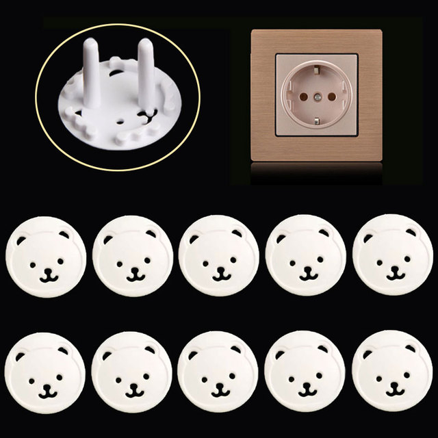 10pcs Russian EU Power Socket Electrical Outlet Baby Safety Guard Protection Anti Electric Shock Plugs Protector Cover Safe Lock 1