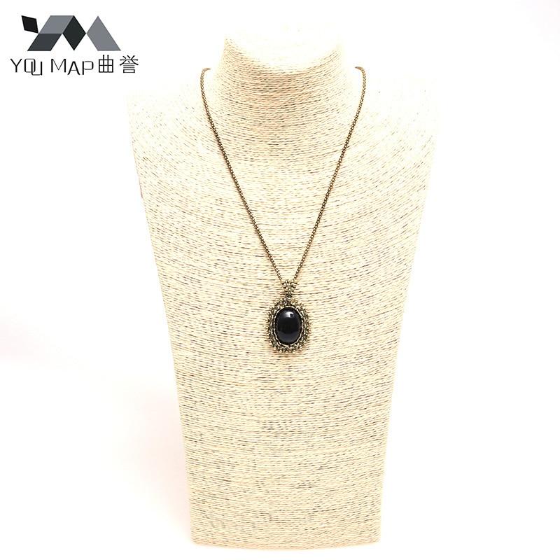 3504d830b280 Retro tallado cristal negro largo mujeres suéter Collares y colgantes  suspensión Comprido collar d6r3c