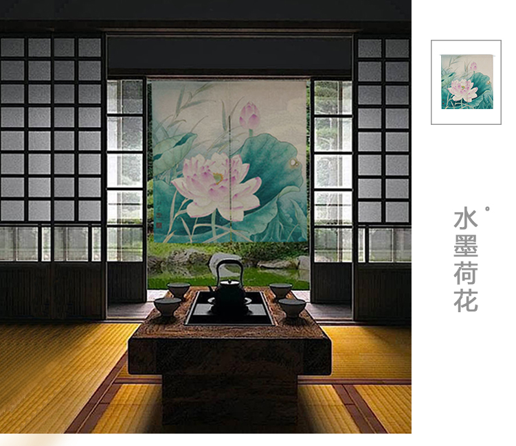 Ink painting curtain Chinese lotus flower window blind water Japanese half curtain cotton and linen curtain