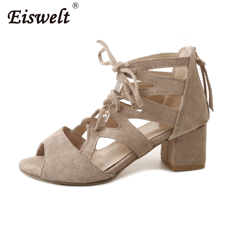 Dropshipping Womens Sandals Summe Sexy Ladies Lace Up Fashion Sandals Woman Solid Shoes Thick with Female Shoes Women Sandals