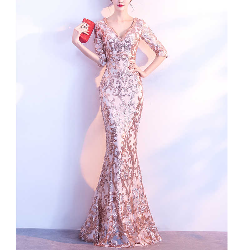 2019 Sequin Party Dress Women V-Neck Beads See-through Back Robe Femme Long 6b624dba2762