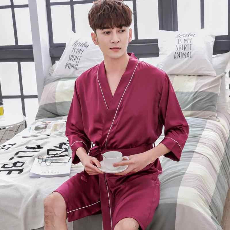 ... Summer Male Casual Robe Kimono Bathrobe L-XXL Navy Blue Men Sleepwear  Solid Color Nightwear 5b7f24425