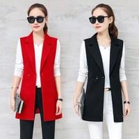 Quality Elegant Blazer Long Waistcoat for Women Summer Slim Long Vests Female Cardigan Vest Black Female Waistcoats Coat