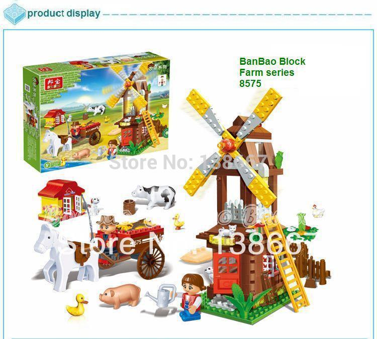 learning & education Banbao Happy Farm series 8575 Windmill 260pcs Building Block Set Children Bricks Toy Lego compatible